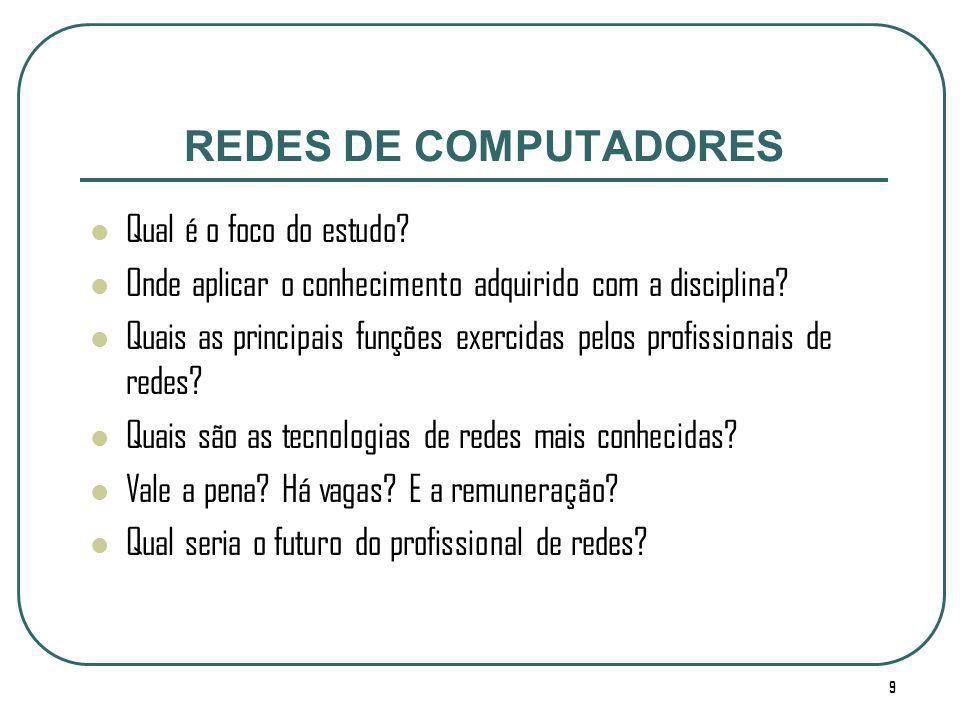 REDES DE COMPUTADORES Qual é o foco do estudo