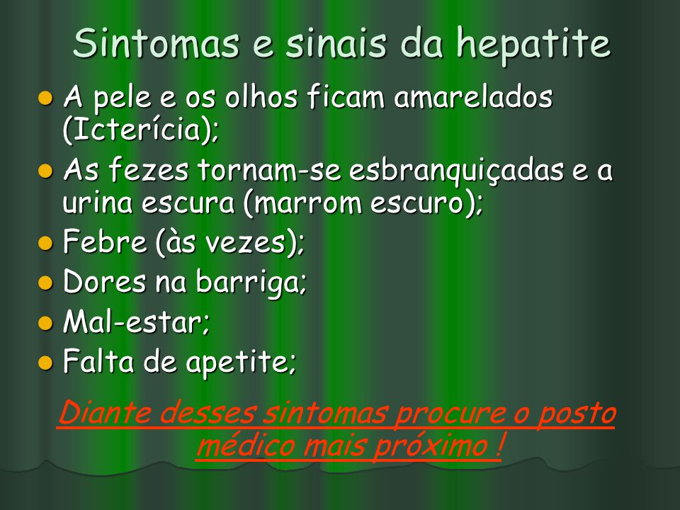 Sintomas e sinais da hepatite