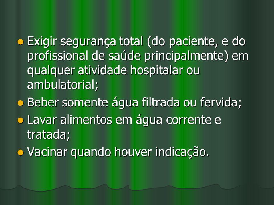 Exigir segurança total (do paciente, e do profissional de saúde principalmente) em qualquer atividade hospitalar ou ambulatorial;