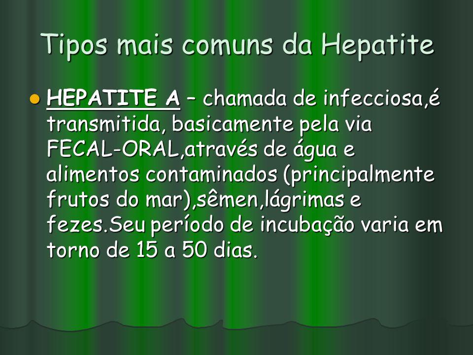 Tipos mais comuns da Hepatite