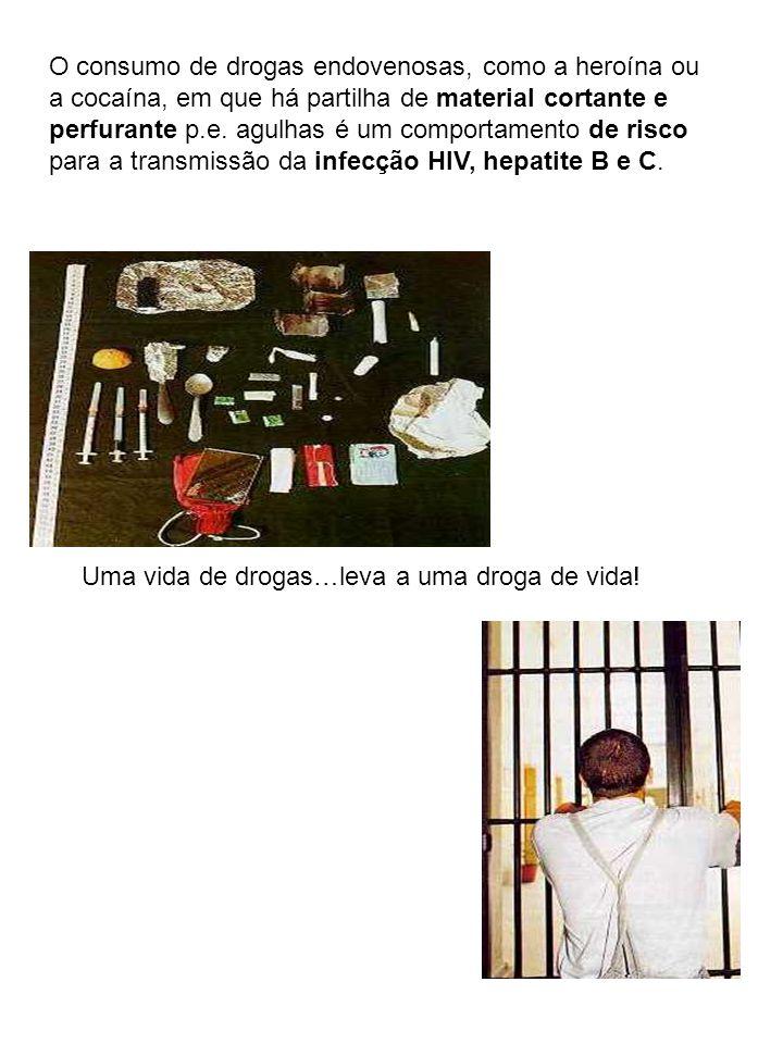 O consumo de drogas endovenosas, como a heroína ou a cocaína, em que há partilha de material cortante e perfurante p.e. agulhas é um comportamento de risco para a transmissão da infecção HIV, hepatite B e C.