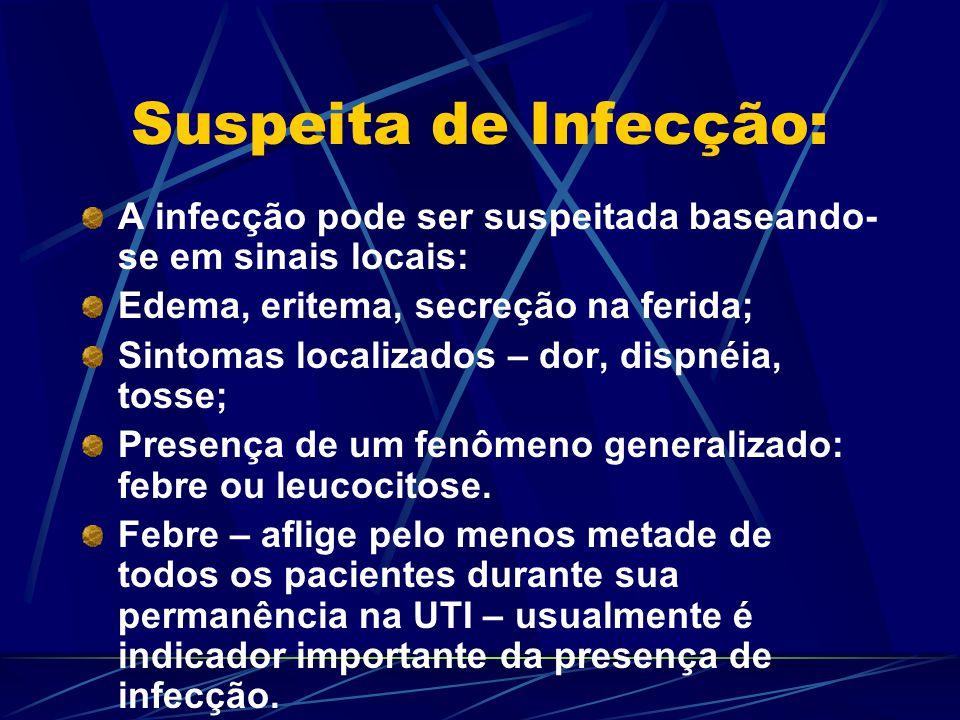 Suspeita de Infecção: A infecção pode ser suspeitada baseando-se em sinais locais: Edema, eritema, secreção na ferida;
