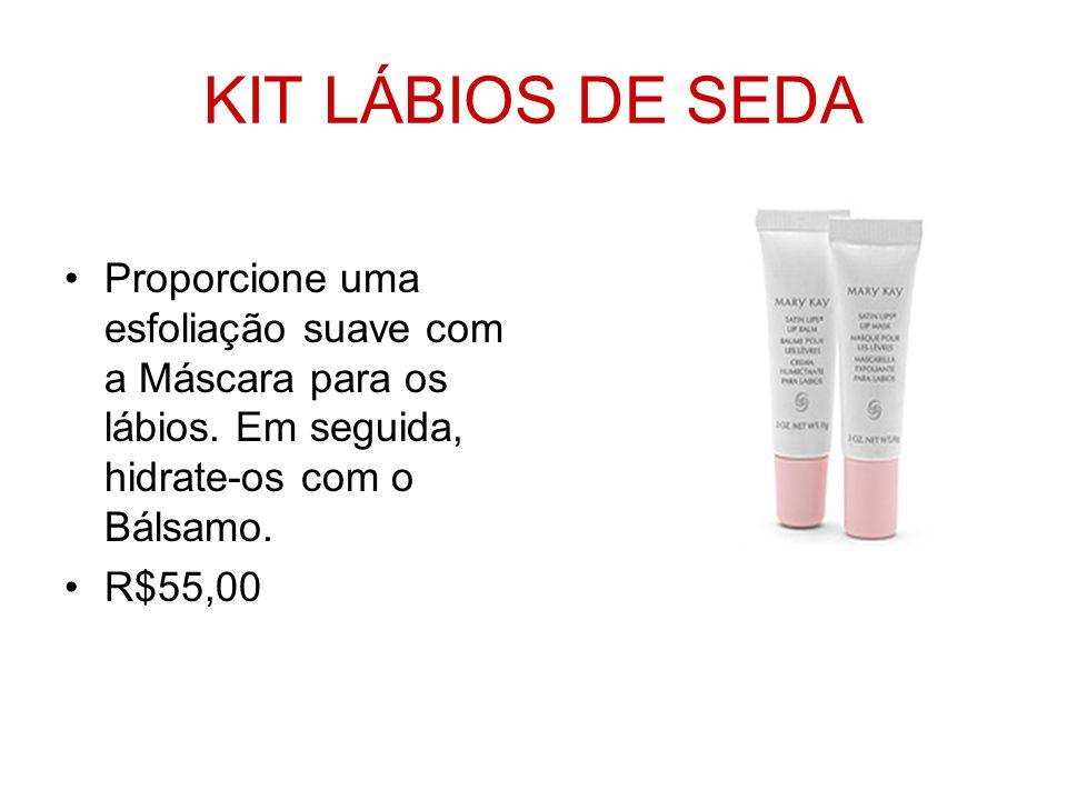 KIT LÁBIOS DE SEDA Proporcione uma esfoliação suave com a Máscara para os lábios. Em seguida, hidrate-os com o Bálsamo.