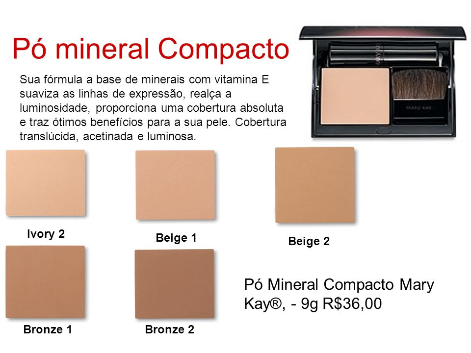 Pó mineral Compacto Pó Mineral Compacto Mary Kay®, - 9g R$36,00