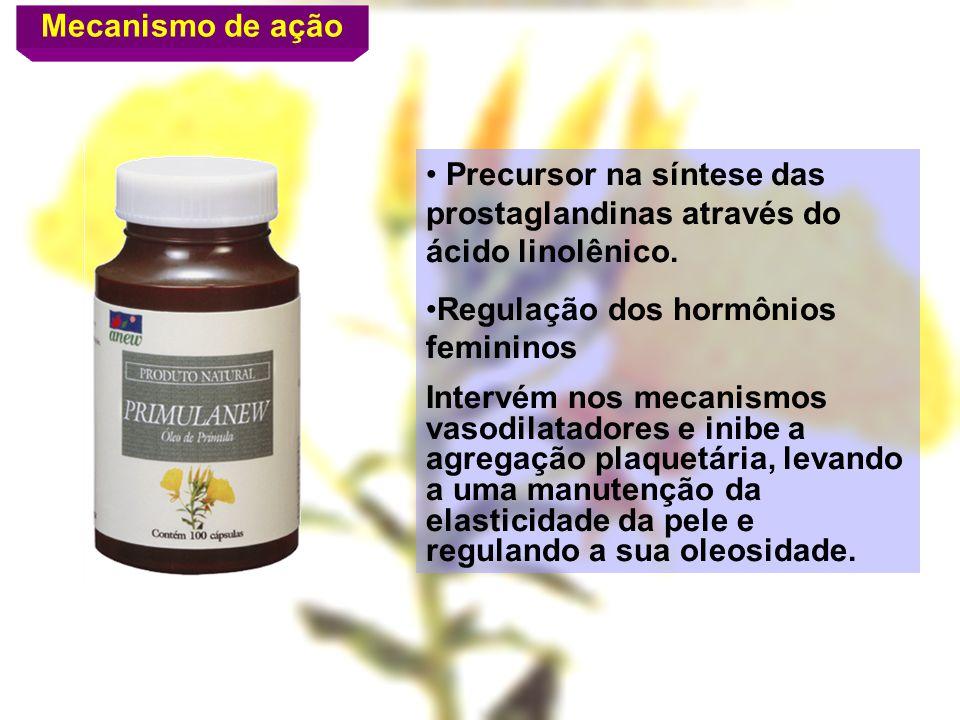 Mecanismo de ação Precursor na síntese das prostaglandinas através do ácido linolênico. Regulação dos hormônios femininos.