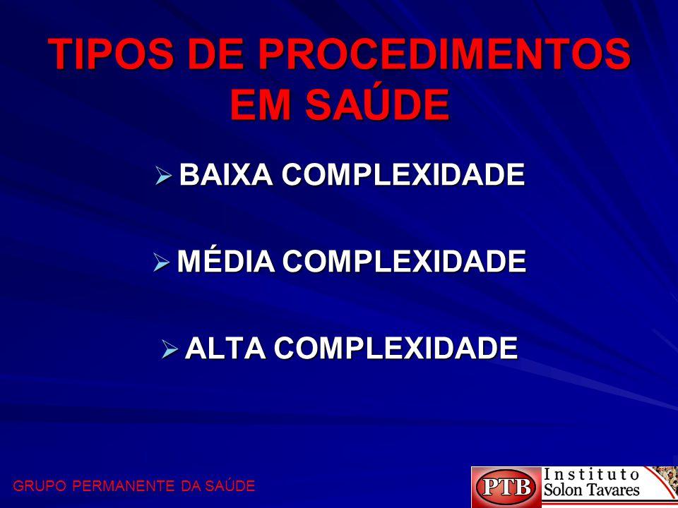 TIPOS DE PROCEDIMENTOS EM SAÚDE