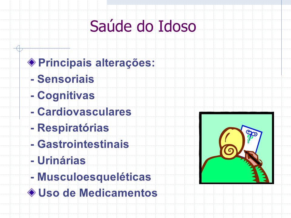 Saúde do Idoso Principais alterações: - Sensoriais - Cognitivas
