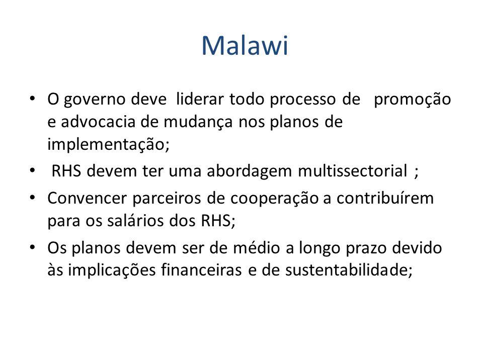 Malawi O governo deve liderar todo processo de promoção e advocacia de mudança nos planos de implementação;