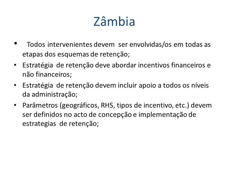Zâmbia Todos intervenientes devem ser envolvidas/os em todas as etapas dos esquemas de retenção;