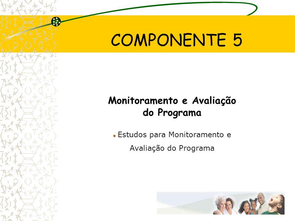 COMPONENTE 5 Monitoramento e Avaliação do Programa