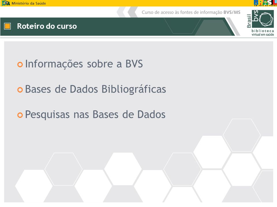 Informações sobre a BVS Bases de Dados Bibliográficas