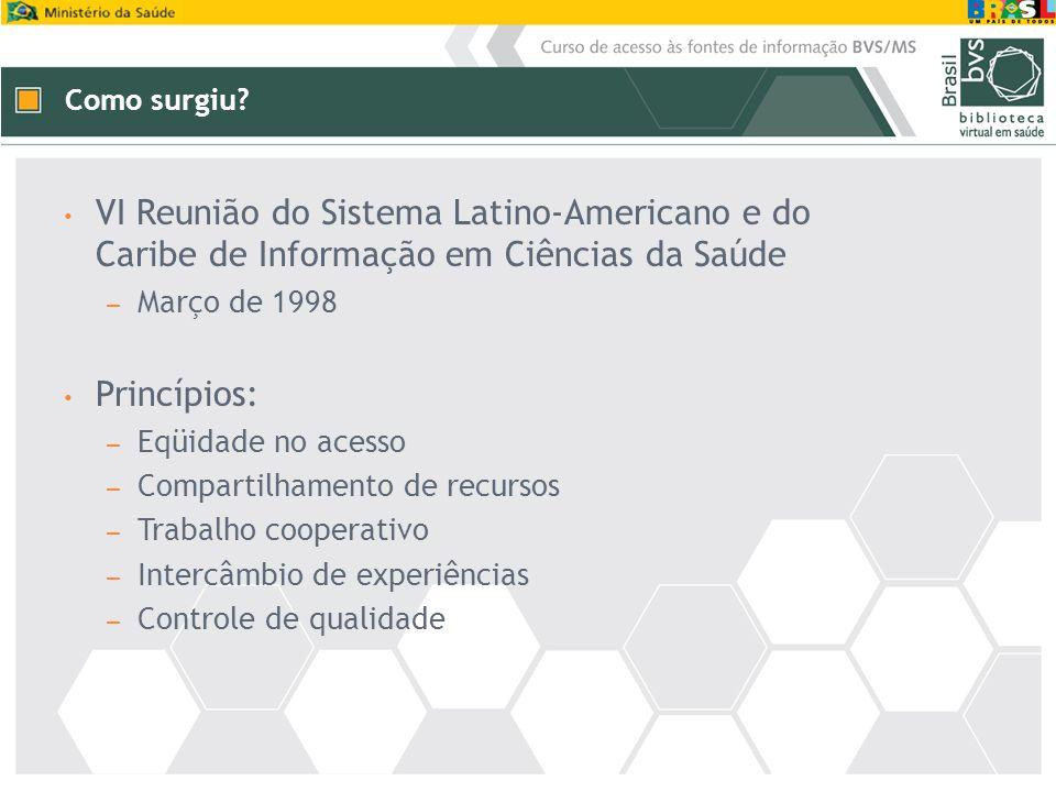 Como surgiu VI Reunião do Sistema Latino-Americano e do Caribe de Informação em Ciências da Saúde.