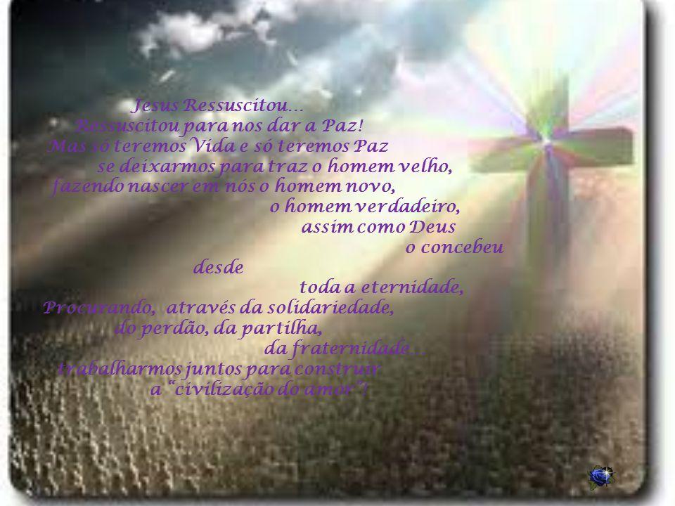 Ressuscitou para nos dar a Paz! Mas só teremos Vida e só teremos Paz