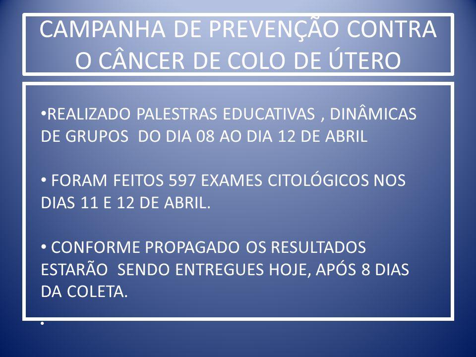 CAMPANHA DE PREVENÇÃO CONTRA O CÂNCER DE COLO DE ÚTERO