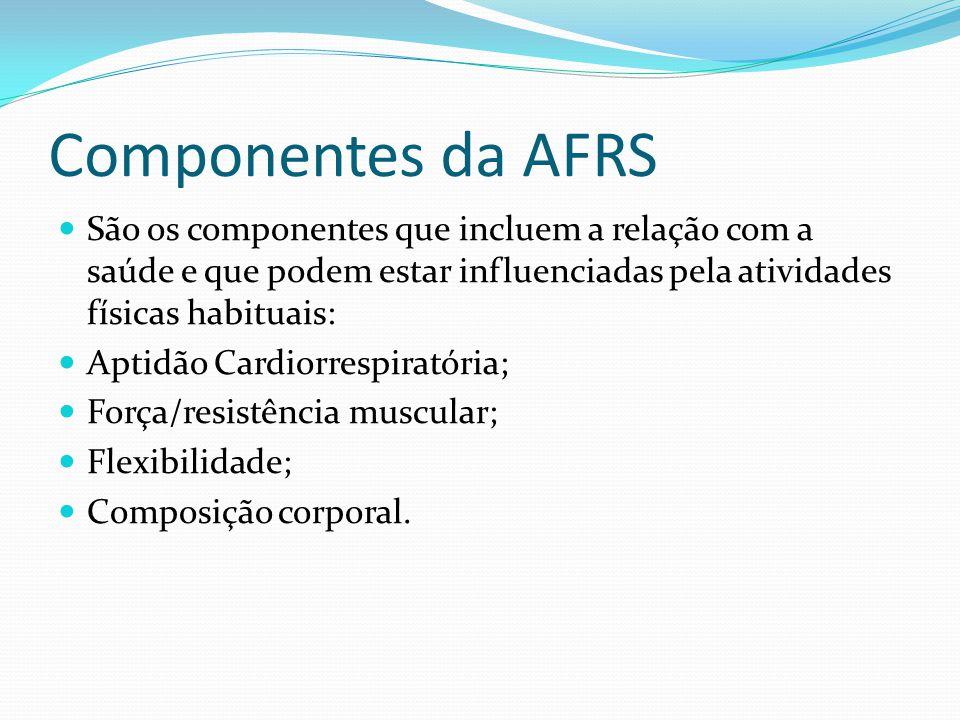 Componentes da AFRS São os componentes que incluem a relação com a saúde e que podem estar influenciadas pela atividades físicas habituais: