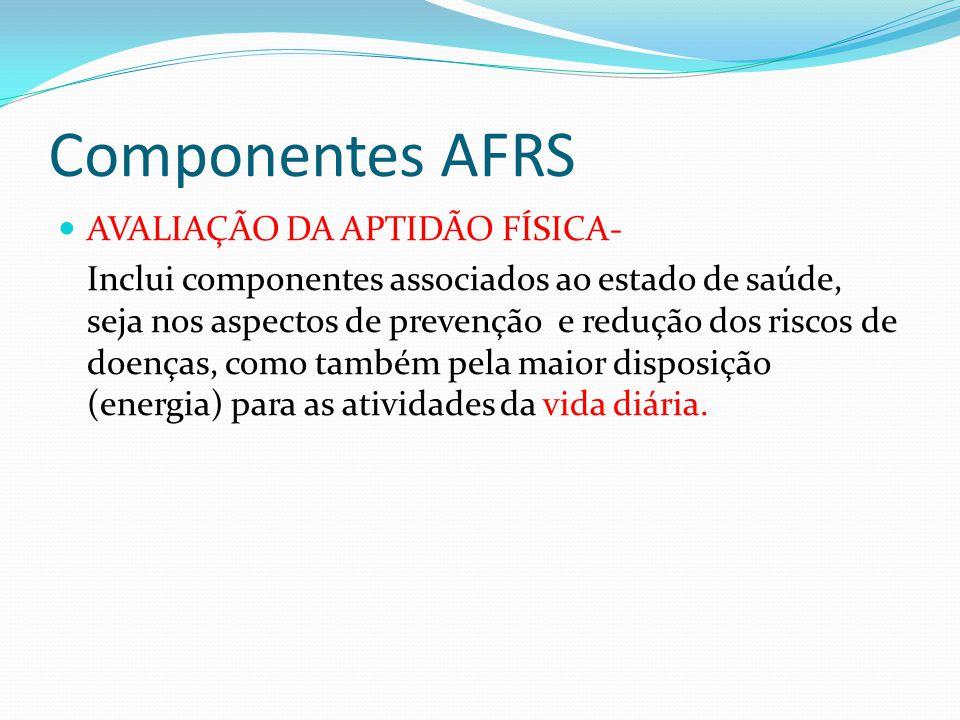 Componentes AFRS AVALIAÇÃO DA APTIDÃO FÍSICA-