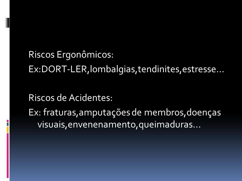 Riscos Ergonômicos: Ex:DORT-LER,lombalgias,tendinites,estresse... Riscos de Acidentes: