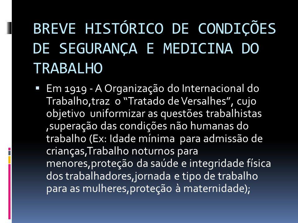 BREVE HISTÓRICO DE CONDIÇÕES DE SEGURANÇA E MEDICINA DO TRABALHO