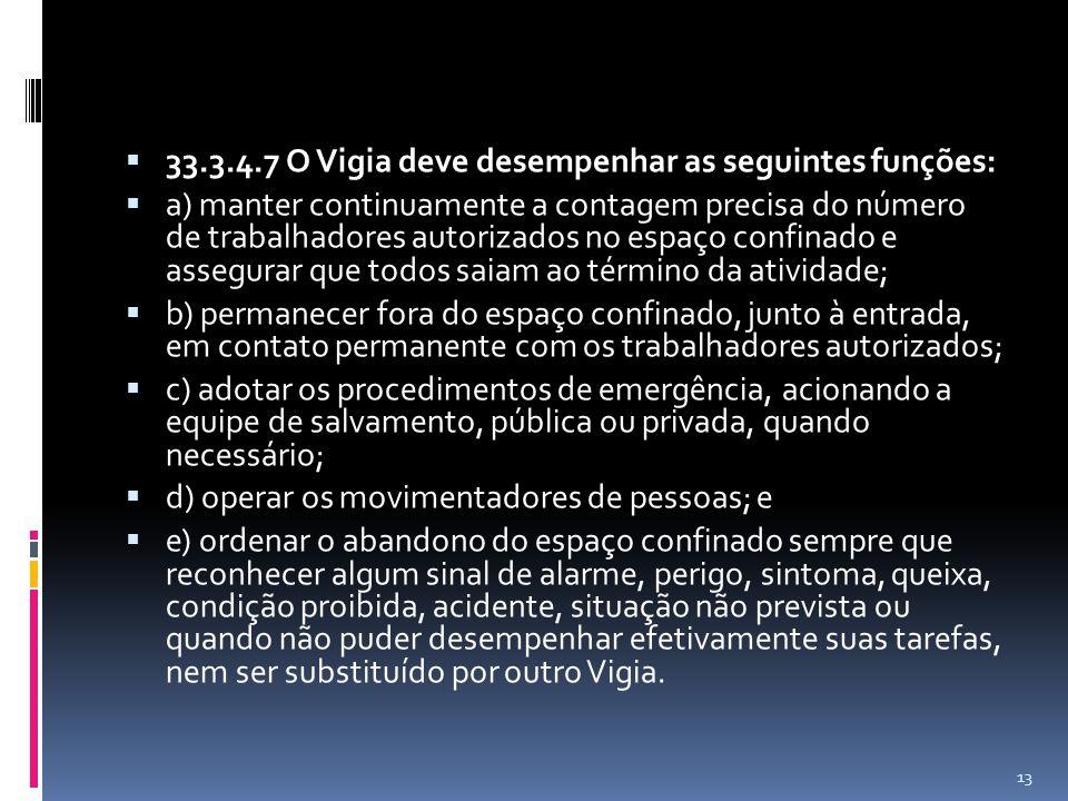 33.3.4.7 O Vigia deve desempenhar as seguintes funções: