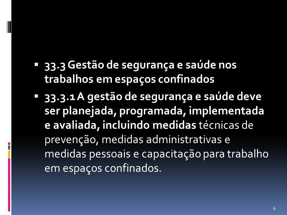33.3 Gestão de segurança e saúde nos trabalhos em espaços confinados