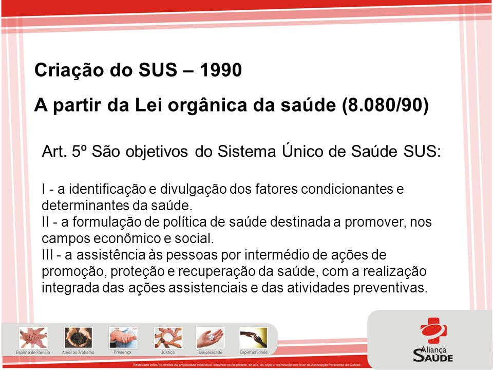A partir da Lei orgânica da saúde (8.080/90)