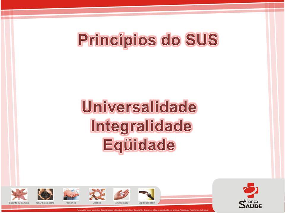 Princípios do SUS Universalidade Integralidade Eqüidade