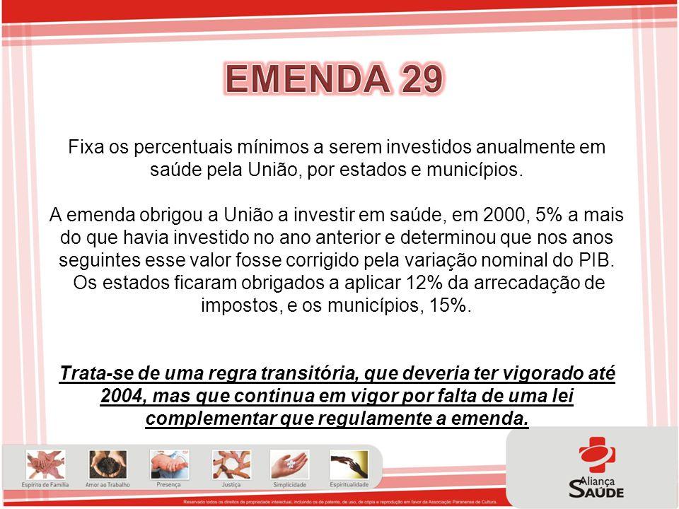 EMENDA 29 Fixa os percentuais mínimos a serem investidos anualmente em saúde pela União, por estados e municípios.