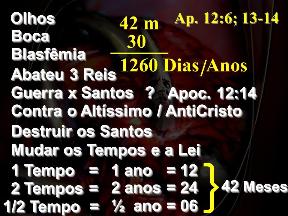 } / 42 m 30 ______ 1260 Dias Anos Olhos Ap. 12:6; 13-14 Boca Blasfêmia