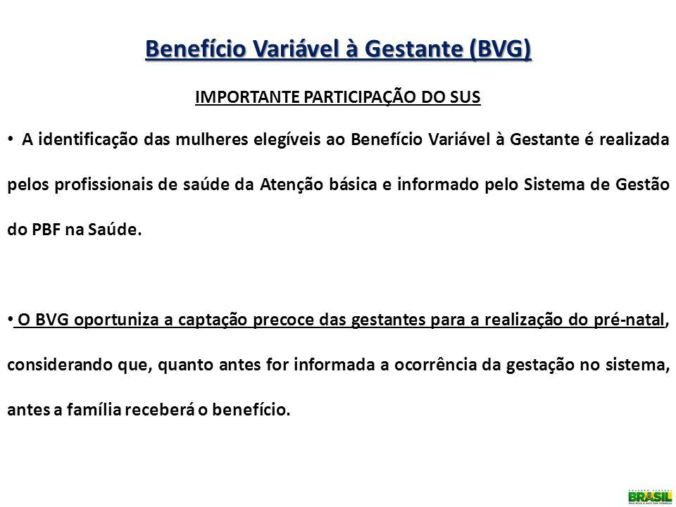 Benefício Variável à Gestante (BVG) IMPORTANTE PARTICIPAÇÃO DO SUS