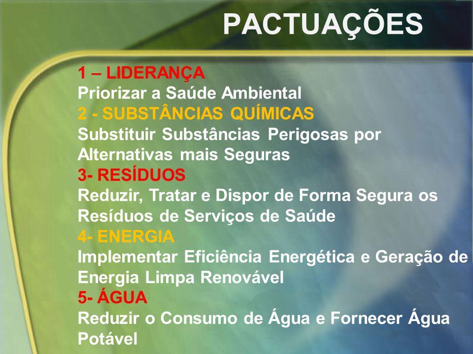 PACTUAÇÕES 1 – LIDERANÇA Priorizar a Saúde Ambiental