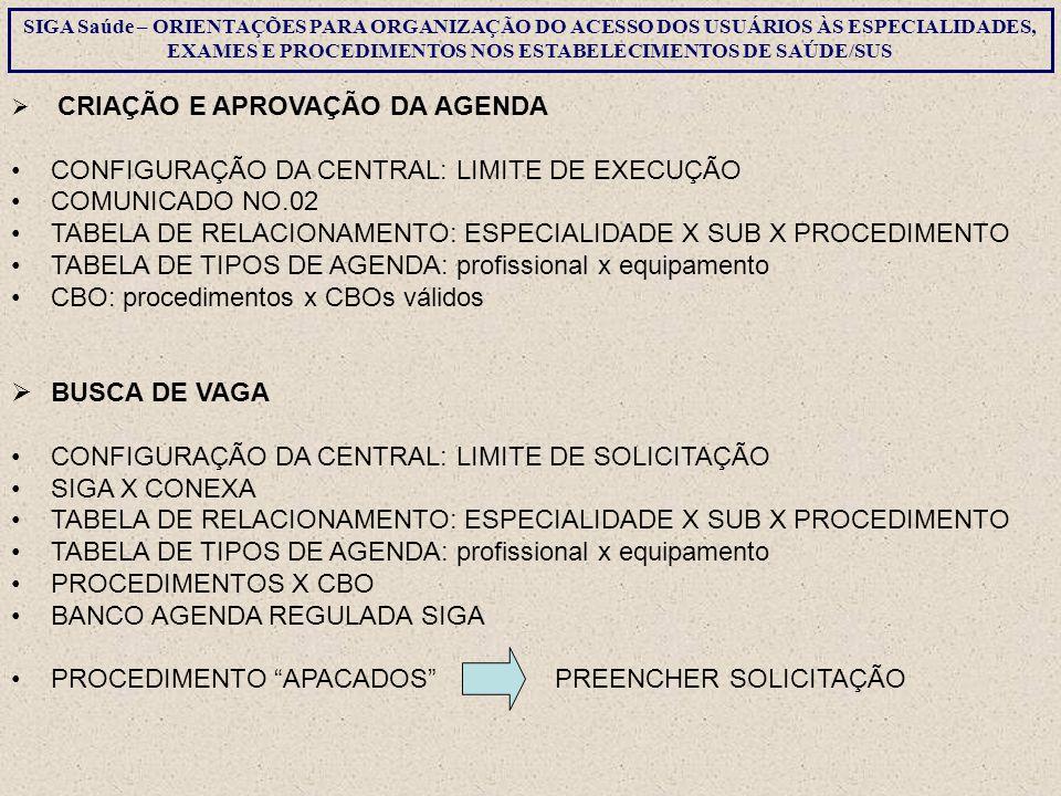 CONFIGURAÇÃO DA CENTRAL: LIMITE DE EXECUÇÃO COMUNICADO NO.02