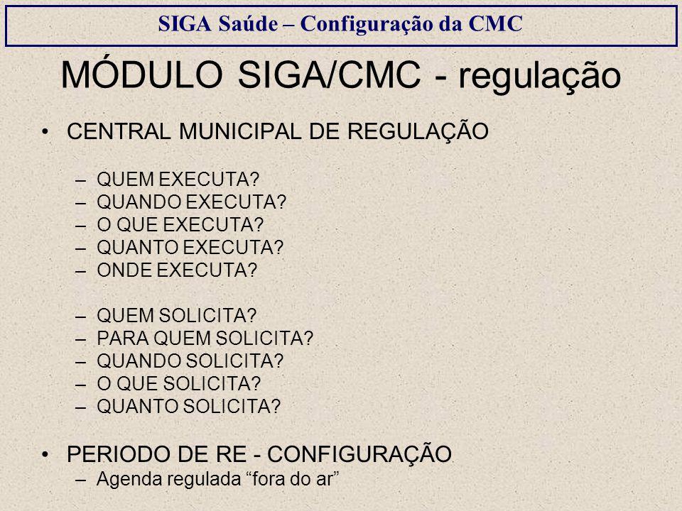 MÓDULO SIGA/CMC - regulação