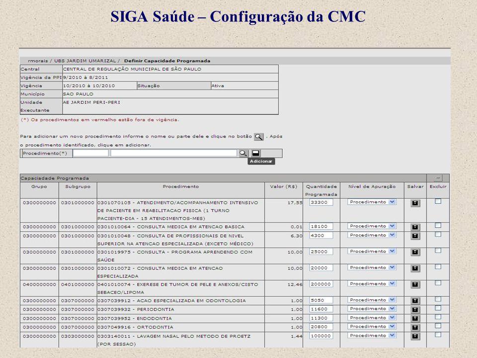SIGA Saúde – Configuração da CMC