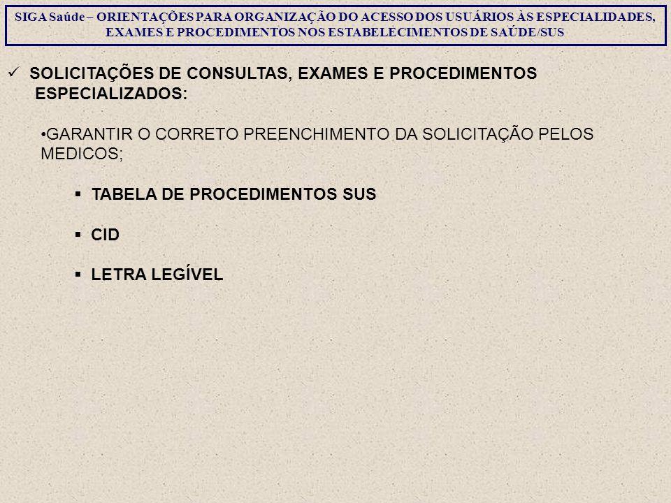 SOLICITAÇÕES DE CONSULTAS, EXAMES E PROCEDIMENTOS ESPECIALIZADOS: