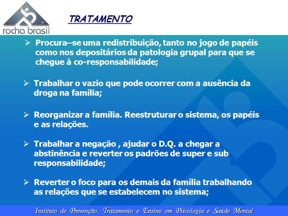TRATAMENTO Procura–se uma redistribuição, tanto no jogo de papéis como nos depositários da patologia grupal para que se chegue à co-responsabilidade;