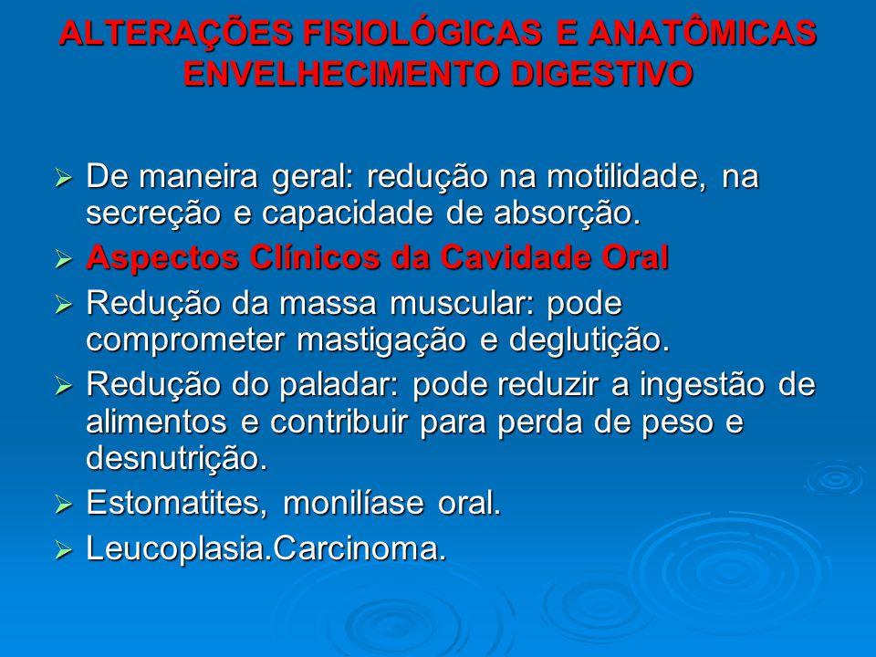 ALTERAÇÕES FISIOLÓGICAS E ANATÔMICAS ENVELHECIMENTO DIGESTIVO