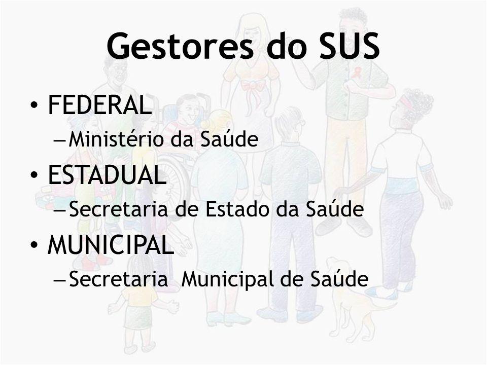 Gestores do SUS FEDERAL ESTADUAL MUNICIPAL Ministério da Saúde