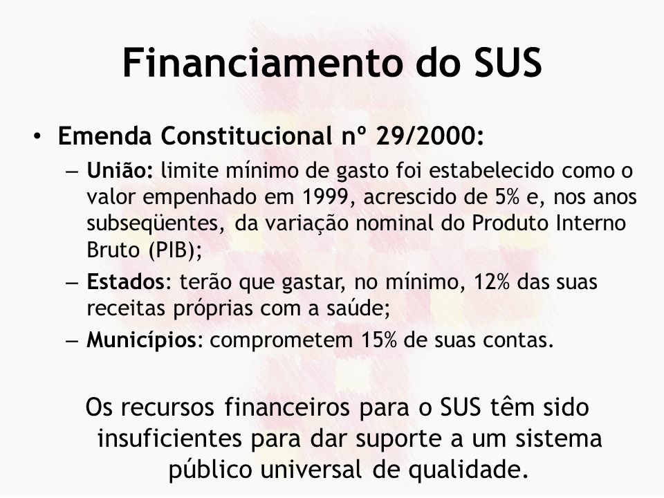 Financiamento do SUS Emenda Constitucional nº 29/2000:
