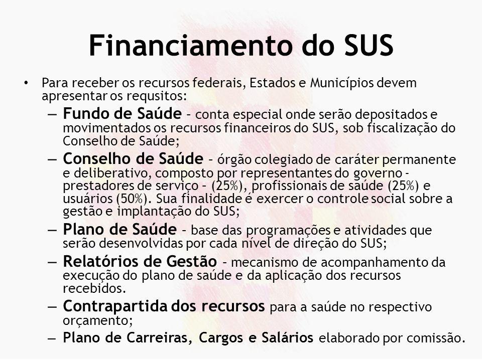 Financiamento do SUS Para receber os recursos federais, Estados e Municípios devem apresentar os requsitos:
