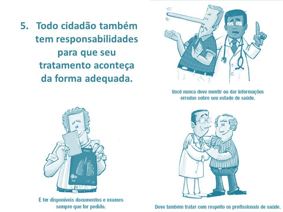 Todo cidadão também tem responsabilidades para que seu tratamento aconteça da forma adequada.