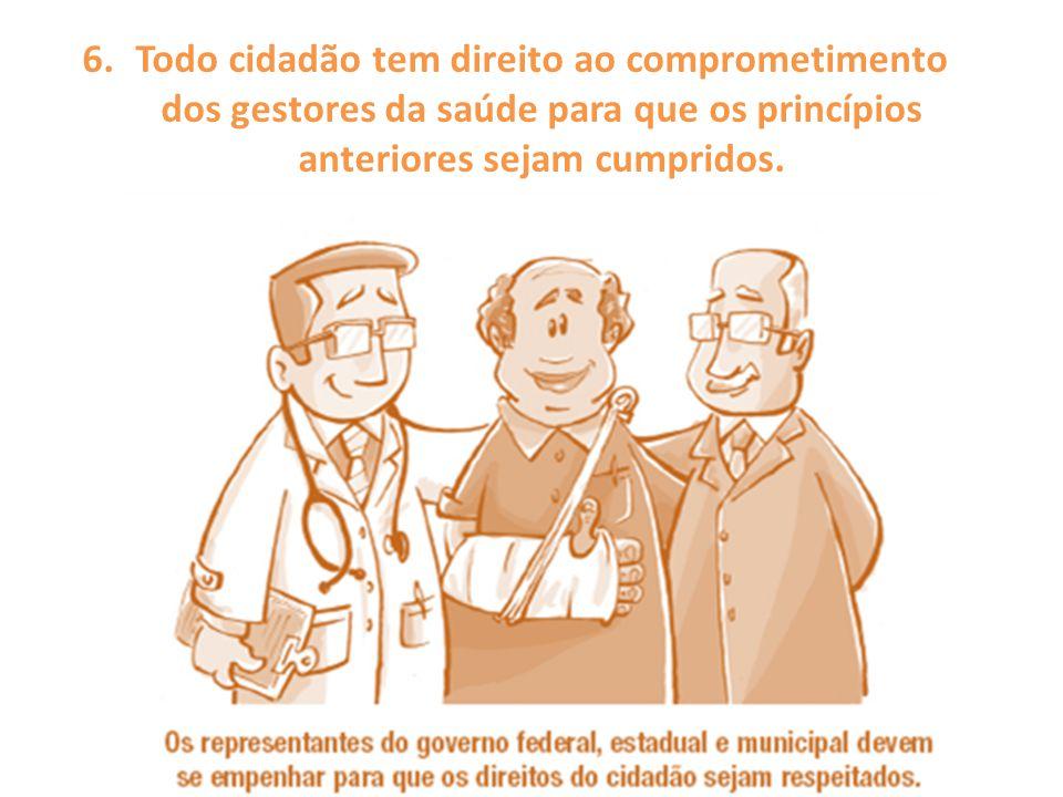 Todo cidadão tem direito ao comprometimento dos gestores da saúde para que os princípios anteriores sejam cumpridos.
