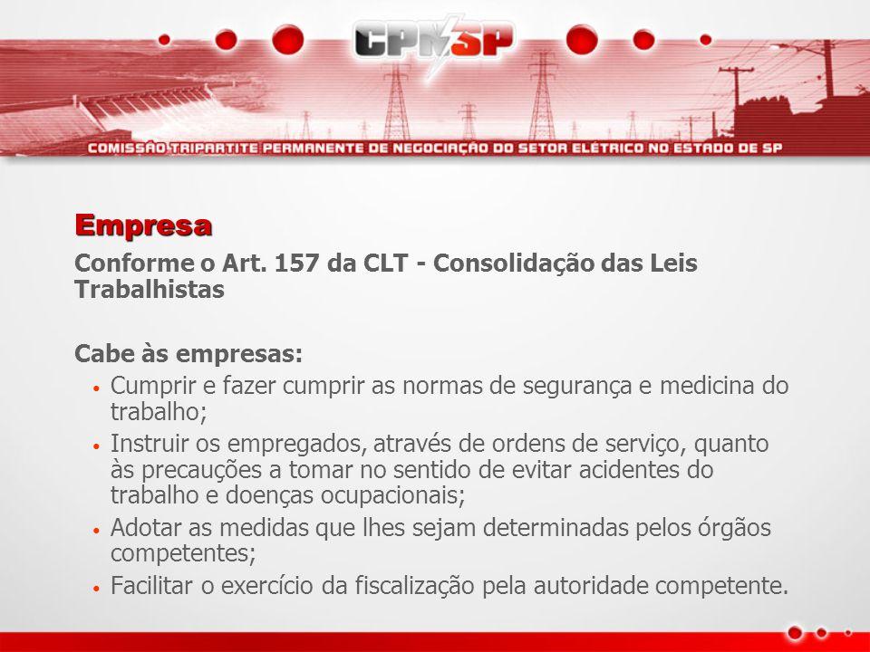 Empresa Conforme o Art. 157 da CLT - Consolidação das Leis Trabalhistas. Cabe às empresas: