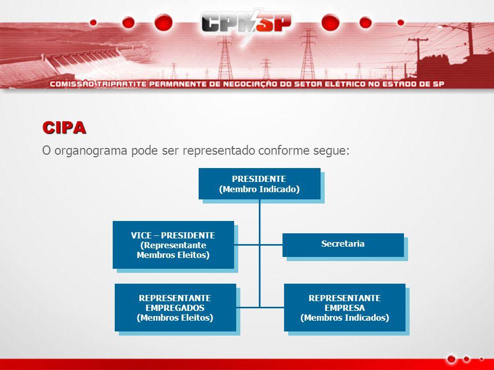 CIPA O organograma pode ser representado conforme segue: PRESIDENTE
