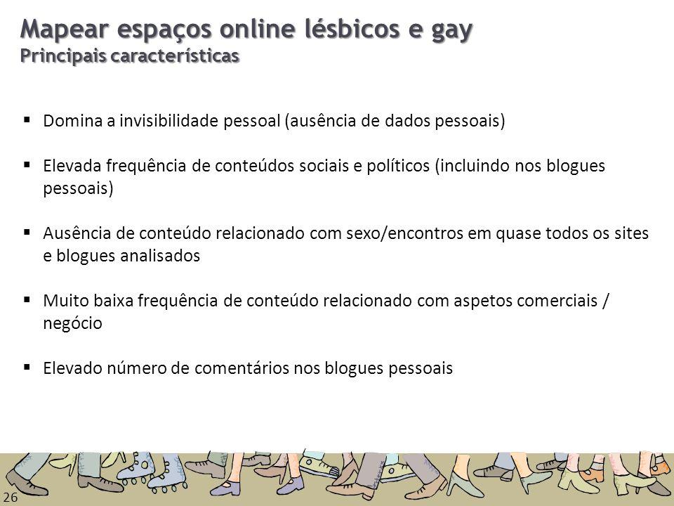 Mapear espaços online lésbicos e gay Principais características