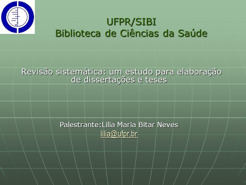 UFPR/SIBI Biblioteca de Ciências da Saúde