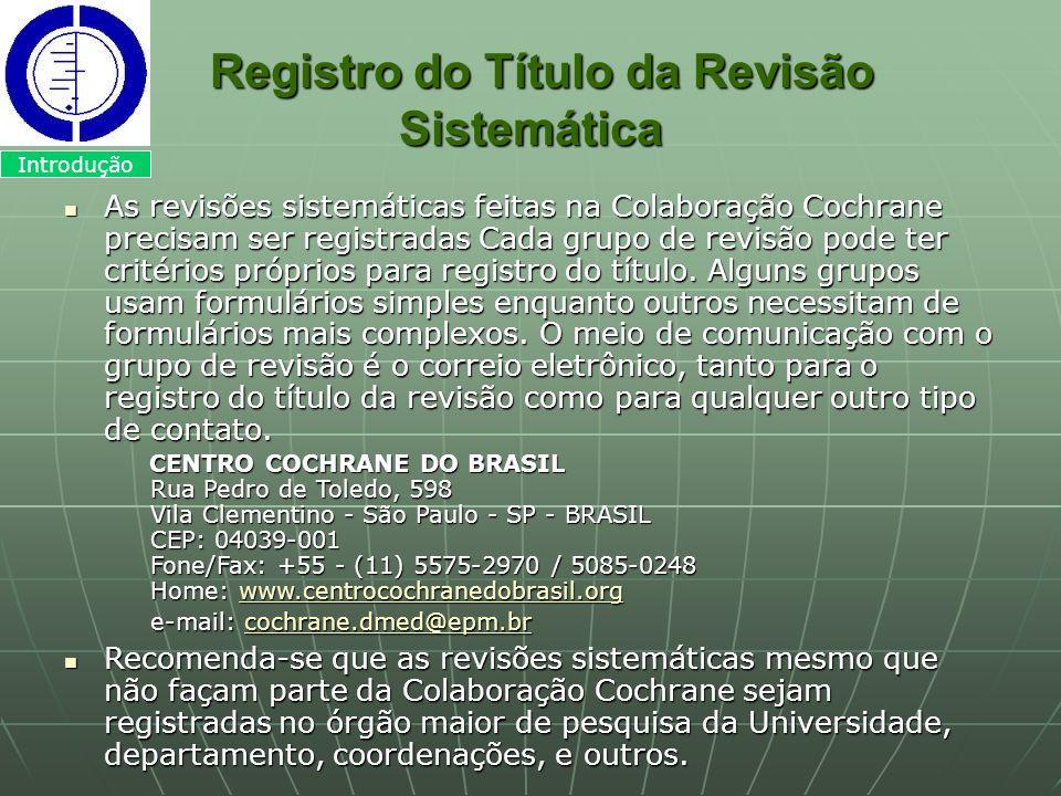 Registro do Título da Revisão Sistemática