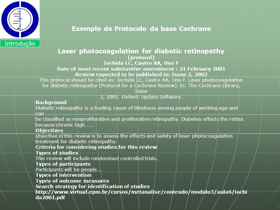 Exemplo de Protocolo da base Cochrane