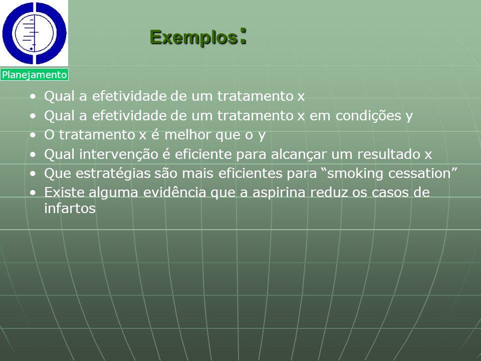 Exemplos: Qual a efetividade de um tratamento x
