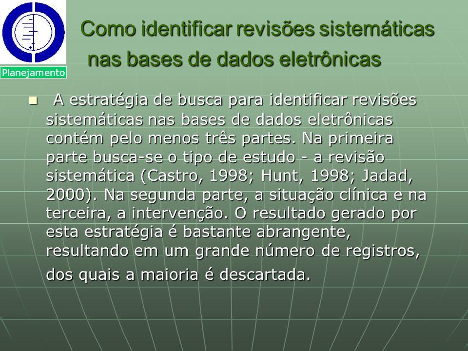 Como identificar revisões sistemáticas nas bases de dados eletrônicas