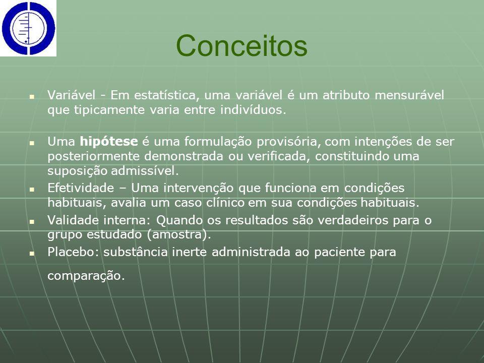 Conceitos Variável - Em estatística, uma variável é um atributo mensurável que tipicamente varia entre indivíduos.